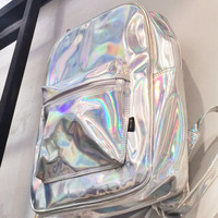Holographic Backpack Silver Hologram Rucksack Travel School Bag