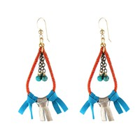 Fringed Drop Brass Earring in Sunny Afternoon
