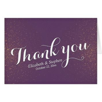 Chic Purple Gold Glitter Sparkle Wedding Thank You Card
