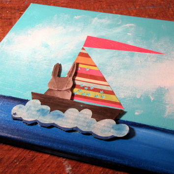 Mixed Media Bunny Rabbit Nursery Art Sailboat Kids Wall Decor Original Painting for Children Ocean Blue Colorful Whimsical Fun Andrea Doss