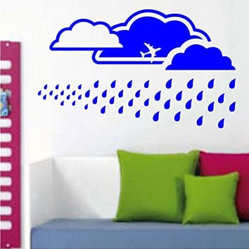 Extra Large Sky Background with Clouds and Rain Vinyl Wall Decal Sticker