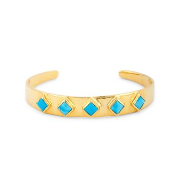 24K Gold Plated Stone Cuff