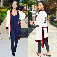 Block Colors Long Cardigans with Belt