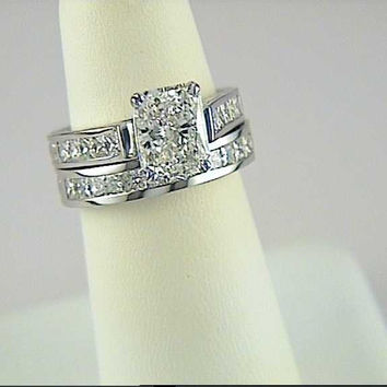2.97ct Radiant Cut Diamond Engagement Wedding ring set JEWELFORME BLUE