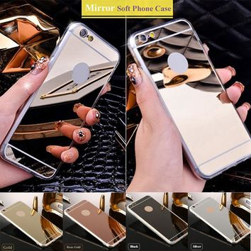 Luxury Mirror Shiny Case For iPhone 5s se 5 Soft TPU edge Phone Cases For iPhone 6 6s 7 Mirror Back Cover For iPhone 6 6S 7 Plus