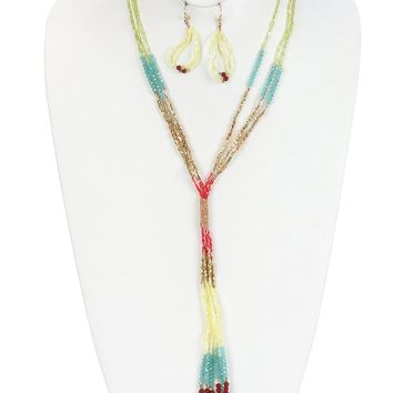 Turquoise and Coral Multi Strand Bead Fringe Necklace And Earring Set