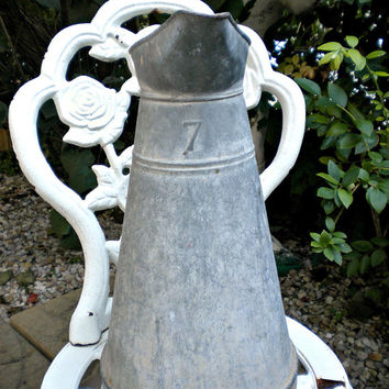 Antique French Pitcher, French Zinc, Farmhouse Decor, Rustic Farmhouse, French Country, French Enamelware