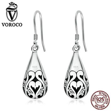 VOROCO Exquisite Authentic 925 Sterling Silver Openwork Swan Droplets Drop Earrings for Women Vintage Jewelry Brinco VSE023