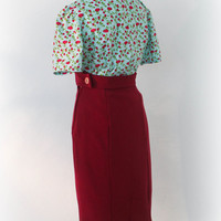 High waisted skirt cherry red, vintage style fishtail skirt, 1930's 1940's pencil skirt, made to measure secretary style, WWII 50's style