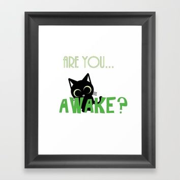 Are you AWAKE Funny cat clipart, animals lover shirt, pet person, sweet kitten, green big eyes Framed Art Print by Peter Reiss