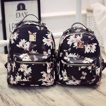 Vintage Black Butterfly Printed Backpack