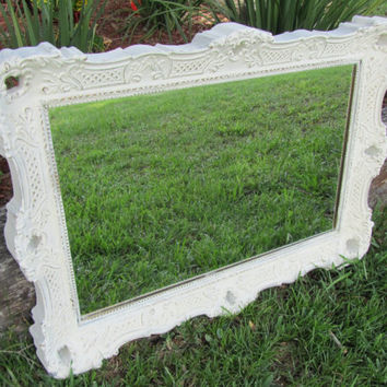 Beautiful Large Ornate Shabby Chic Mirror, Vintage Mirror, Shabby Chic Mirror, White Mirror