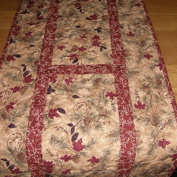 Quilted Table Runner Earthtone Red Leaves Evergreens Quilt