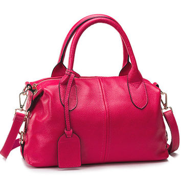 Medium Size Minimal Causal Chic Fuchsia Leather Tote. Ladies Genuine Leather Handbag Hot Pink Leather Purse. Travel Bag