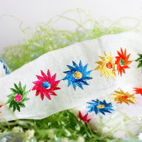 3 Yards of VINTAGE Flower Embroidered Ribbon, 1960s Ribbon Trim.