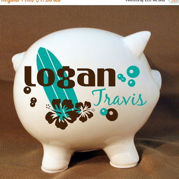 "ON SALE - 8"" Personalized Piggy Bank ""Surfer Style Bank""  with Vinyl - Custom Piggy Bank, Surfer Ocean Design, Birthday Gift, Nursery Decor"
