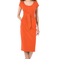 Asymmetric sash tie belt cotton knit sheath dress