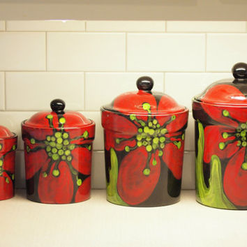 Canisters, Flour Canister, Sugar Canister, Pottery Canisters, Red Poppy Canister Set of 4, Bold Floral Ceramic Kitchen Storage Gift for Chef