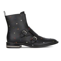 Black Leather Embroidery Buckle Detail Ankle Boots
