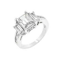 Emerald Cut Triplet Engagement Ring Size 7