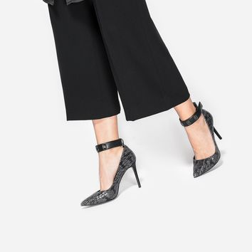 Black Textured Pointed Stilettos | CHARLES & KEITH