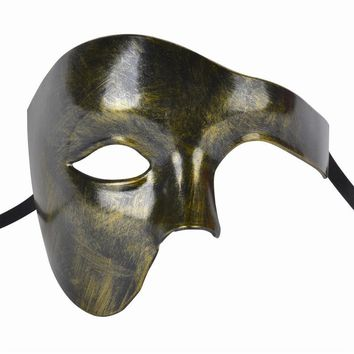 FunPa Venetion Mens Party Mask Half Face Phantom Of the Opera Mask Handsome Mardi Gras Mask Masquerade Mask Solid Color