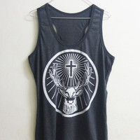 Women Tank top or Short sleeve tshirt size S/ L Dark grey Deer shirt Cross tank top crew neck women t shirts black teen fashion tee