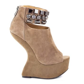 CHINESE LAUNDRY CAN CAN HEELLESS PLATFORM - TAUPE SUEDE
