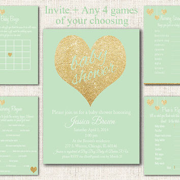 Mint and Gold Baby Shower Invitation 5 piece party pack, baby shower games package baby shower party set instant download digital file