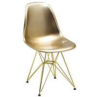 Mid Century Gold Side Chair with Gold Wire Base (Set of 5)
