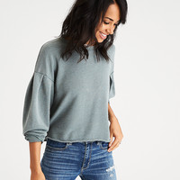 AEO Boxy Pleat-Sleeve Sweatshirt, Green
