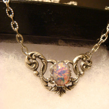 Victorian Style Fire Opal Necklace in Antique Silver (1313)
