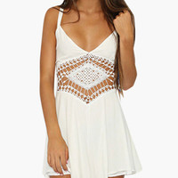White Sleeveless V-Neck with Crochet Lace Cut-Out Romper