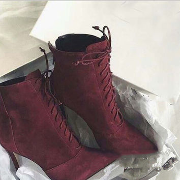 Fashion lace up type knot pointed head band short boots