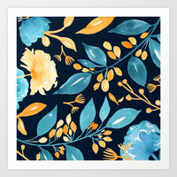 Teal and Golden Floral Art Print by noondaydesign