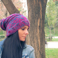 Claret  red and blue handmade hat,claret red and blue oversized hat,claret red and blue knit hat,slouchy beanie,chunky hat,baggy,