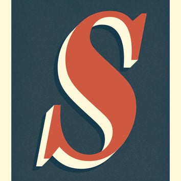 The Letter S, Original Giclee Art Print, Typography, Alphabet, Monogram, Red Orange, Cream, Midnight Blue