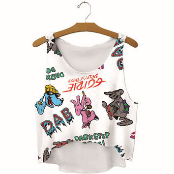 Summer Womens Hip Hop Dogs Printed Show Hilum Tank Top Slim Sports Vest Gift - 61