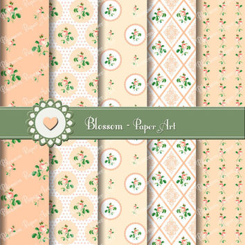 Peach Flowers Digital Scrapbooking Pack - Decoupage - Collage Sheet - Digital Paper - Printable - 1614