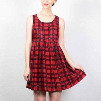 Vintage 90s Dress Red Black Plaid Mini Dress 1990s Dress Tartan Schoolgirl Babydoll Dress Soft Grunge Dress Lolita Skater Dress S Small M