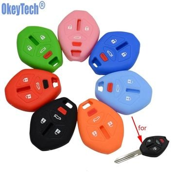 OkeyTech Silicone Rubber Key Fob Cover Set Skin Protect Holder for Mitsubishi Eclipse Galant Lancer Raider Endeavor Outlander
