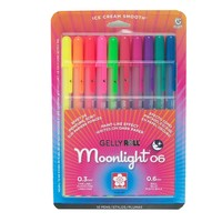 Sakura 58176 10-Piece Gelly Roll Blister Card Moonlight 06 Fine Point Gel Ink Pen Set, Assorted Colors