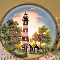 Fathers Day Gift Lighting Accent Lighthouse Night Light Lamp Ceramic Porcelain Home Decor Vintage blm