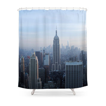 Society6 New York City In Outline Shower Curtains
