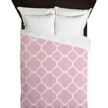 Duvet Cover - Pink Quatrefoil Duvet Cover - Quatrefoil - Housewares - Pink Bedding - Dorm Bedding - Teen Room Decor - Girls Bedding