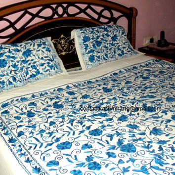 Royal Blue Bedspread/Embroidered Blue Cotton Bedspread/Luxury Bedding/blue floral Bedding/King size bedding/Blue wedding gift/Queen size