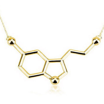Hapiness Molecule - Serotonin Molecule Necklace - Gold & Silver - Science DNA Pendant Necklace for Happiness and Well-being