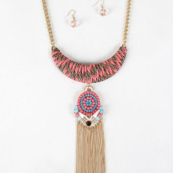 Acrylic Mosaic And Woven Plate Necklace
