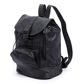 AFONiE Genuine Leather Backpack with Convertible Strap Super Soft Black Color
