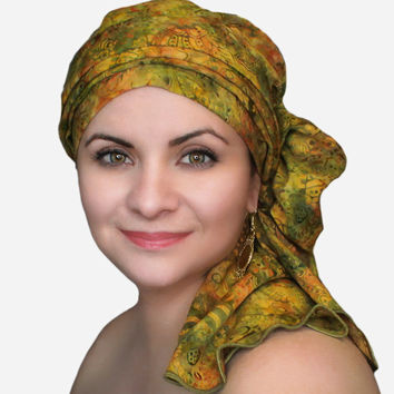Olive Floral Turban, Head Wrap, Alopecia Scarf, Chemo Hat & Scarf Set